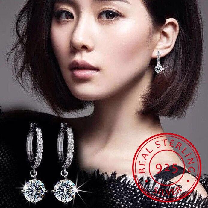 Lekani Round Crystal From Swarovski Drop Earrings For Women Fine Jewelry Clear Rhinestone Classic Simple Accessories