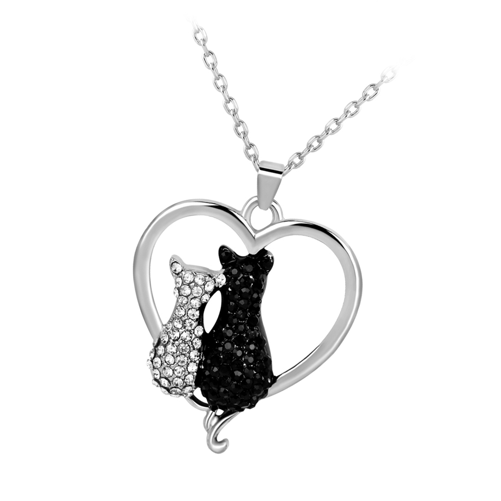 Charm White Black Crystal Love-Shaped Lovely Two Cats Pendant Necklace Saint Valentine's Day gifts For Women Girls wholesale