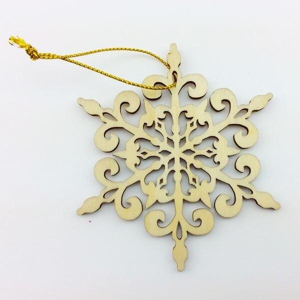 ⃝Envío libre decoración de navidad copo de nieve de madera - a561