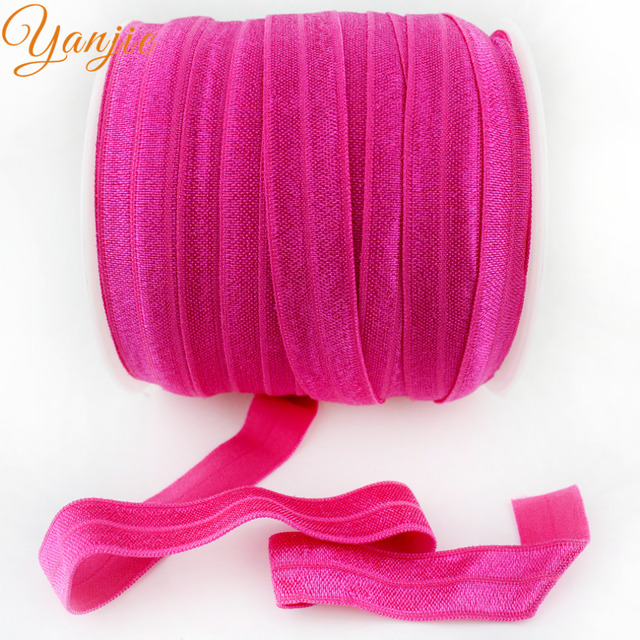 """50Yards/Color 72 colors 5/8"""" Shimmery Solid FOE For Girls And Kids DIY Elastic Headband Hair Ties Headwear CHOOSE ONE COLOR"""
