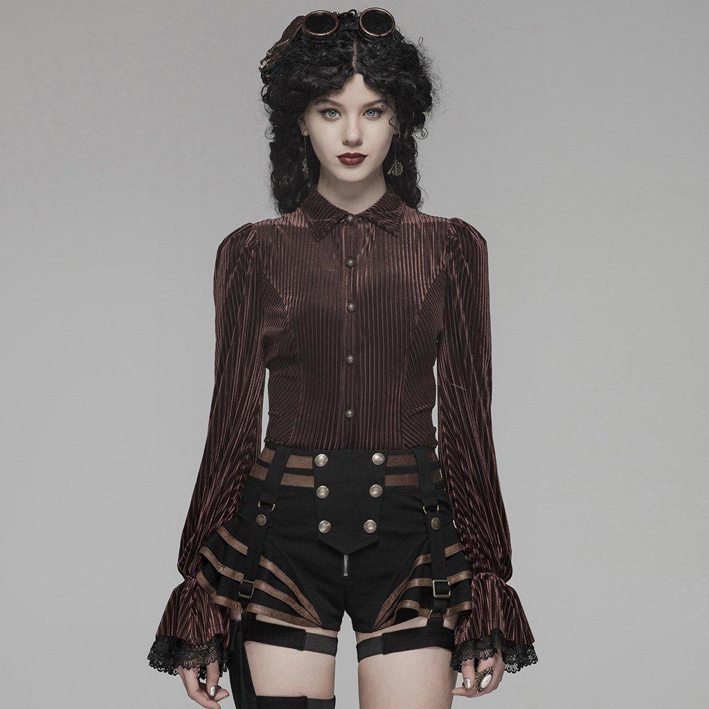 PUNK RAVE Women's GothIC Striped Flared Sleeves Shirts Steampunk Vintage Velet Blouse Fashion Women Evening Party Shirt