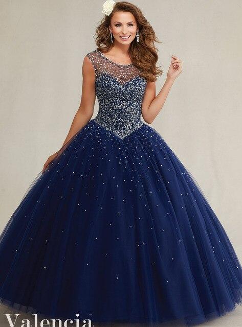 19cc5a5dc25 Shinning Silver Beading Top Scoop Neckline Ruffle Tulle Ball Gown Navy Blue  Quinceanera Dresses Vestidos De Quinceaneras 89081