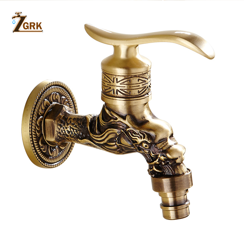 ZGRK Carved Wall Mount Bibcock Brass Retro Tap Decorative Outdoor Garden Taps Washing Machine Mop Luxury Antique  WC Faucet