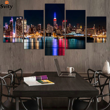 No frame 5 Panels/Set Large HD Picture Canvas Print Painting City Night and Bridge Artwork Wall decoration for living room