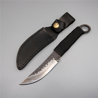Handmade damascus steel fishing knife fixed straight blade hunting camping outdoor survival ring knife tool with sheath