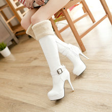 Winter Fashion Buckle Sexy High Heel Female Knee High Boots Platform Thin Heel Women Long Boots Size 34-43