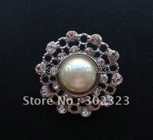 (Free shipping) 25mm Crystal alloy rhinestone pearl button, lead &nickle free,wholesale &retailer