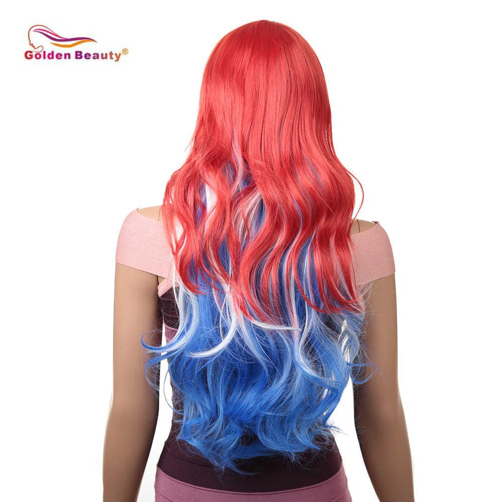 18 дюймов Волнистые волнистый парик для косплея Для женщин парик длинные волосы термостойкие парики из искусственных волос красного до синего, с эффектом деграде (переход от темного к серый розовый Золотой Красота