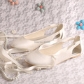 Wedopus Handmade Latest Designer Ladies Flat Dress Shoes Ballet Wedding White Color Fabric