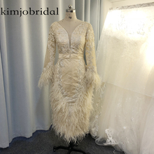 feather prom dresses real picture long sleeve beading lace appliques evening deep v neck sheath sexy dress