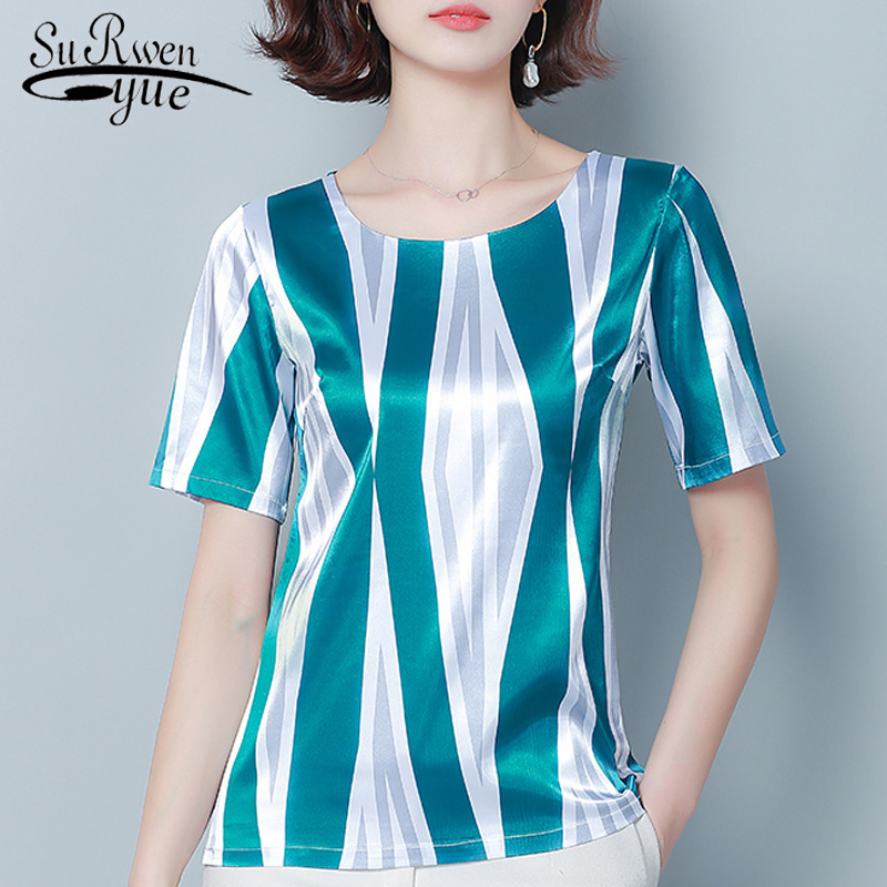 Womens Tops And Blouses Plus Size Tops Women Blouses Short Sleeve Striped Chiffon Blouse Women Shirts Womens Clothing 3814 50