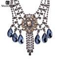 Valen bela lujo maxi colar bib declaración crystal choker collar de moda para las mujeres colgante collar de chocker collar xl1523
