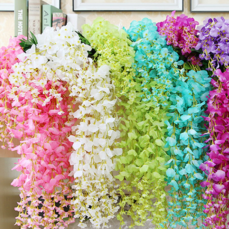 Set Of 10 Country Garden Flower Seed Wedding Favours With: 1 SET 12pcs 110 Cm Artificial Silk Wisteria Fake Garden