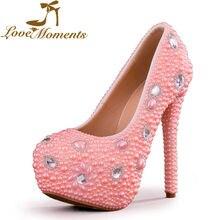 Momentos de amor artesanal pérolas senhoras de salto alto rosa vestido de cristal mulheres sapatos de casamento sapatos de noiva mulher grande tamanho 40-43