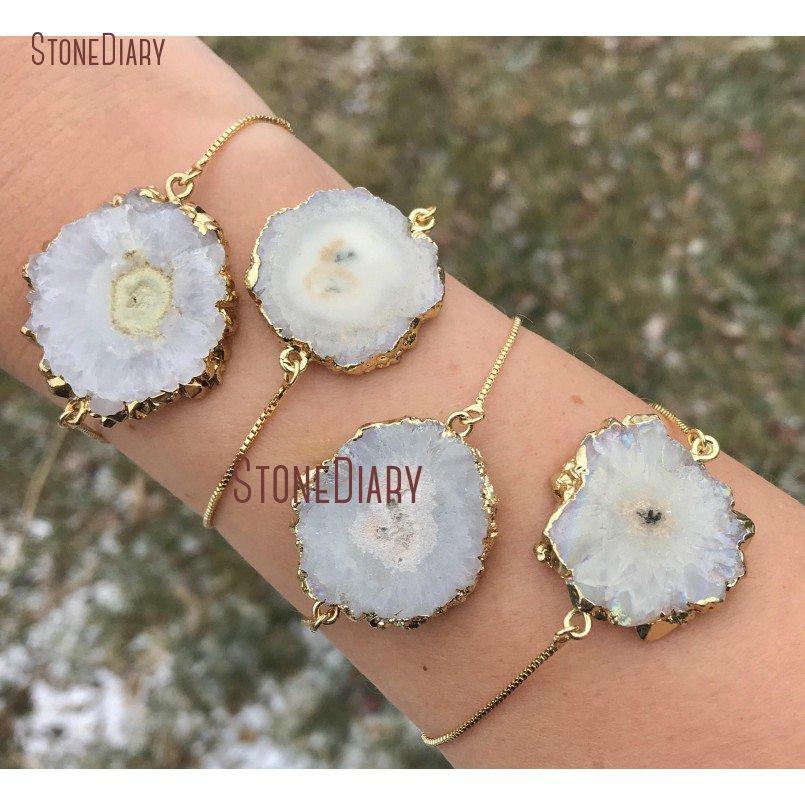 Wholesale Gold Plated Natural White Solar Quartz Slice Pendant Bead Sun Flower Druzy Gemstone Slice Pendants Making Jewelry Craft G0224