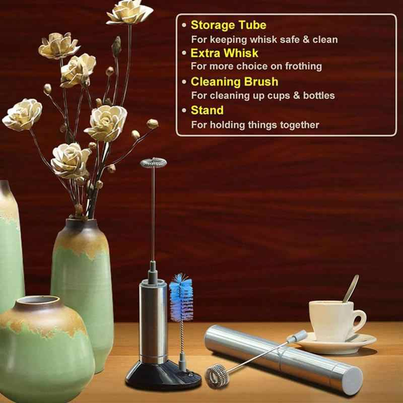 Handheld Elétrico de Aço inoxidável máquina de Café Leite Frother Whisk Mixer Egg Beater Foamer Agitador Cozinha Blender Auto Mexa Para