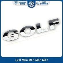Logotipo da etiqueta do emblema do golfe da prata do cromo da tampa traseira do tronco do carro do oem para vw volkswagen abs decalque