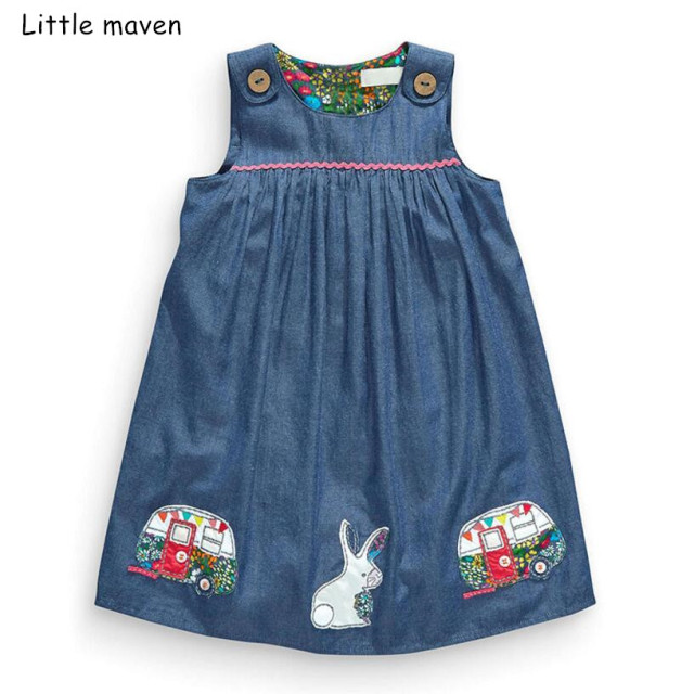 a458824bdc432 US $8.38 40% OFF|Aliexpress.com : Buy Little maven 2019 new summer baby  girls brand dress kids cotton aimal bus Embroidered sleeveless dresses from  ...