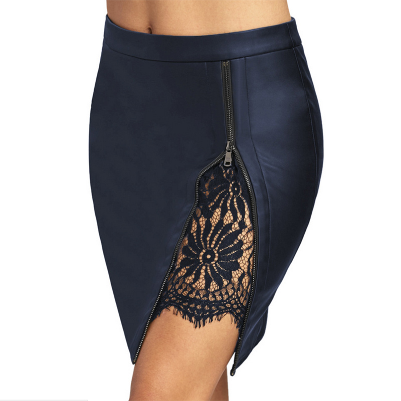 lace skirt straight patchwork high street mini above knee PU faux leather black wine navy sexy club party