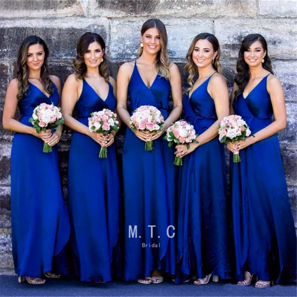 Sexy Royal Blue   Bridesmaid     Dresses   2019 High Quality V Neck A Line Spaghetti Strap Long Maid Of Honor   Dress   Cheap