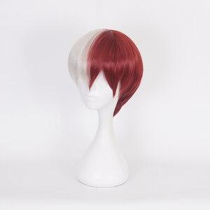 Image 2 - אנימה שלי גיבור אקדמיה Boku לא הירו Akademia Shoto Todoroki Shouto לבן ואדום פאת קוספליי + כובע פאה