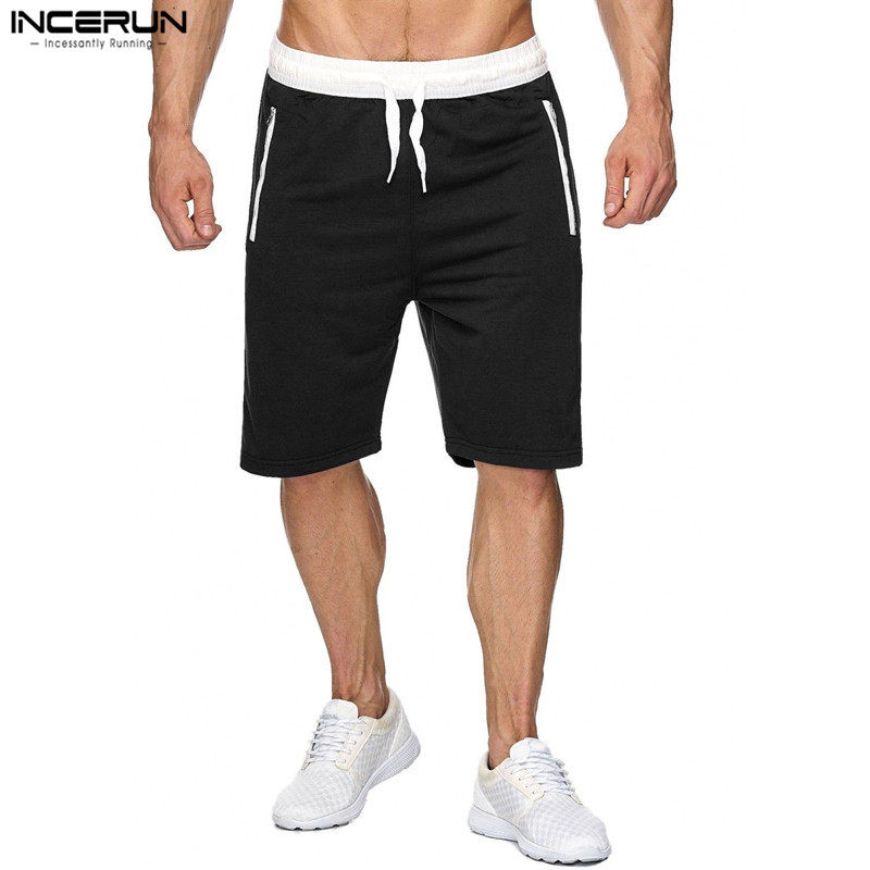 INCERUN Summer Casual Men Bodybuilding Knee Length Shorts Men Solid Joggers Shorts Sweatpants Trousers Mens Bermuda Shorts 2XL