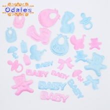 100Pcs/50Pcs Baby Bib Letter Satin Feet Applique Stroller Bow Pacifier Bear Baby Shower Party Decor Souvenir Candy Box Scrapbook