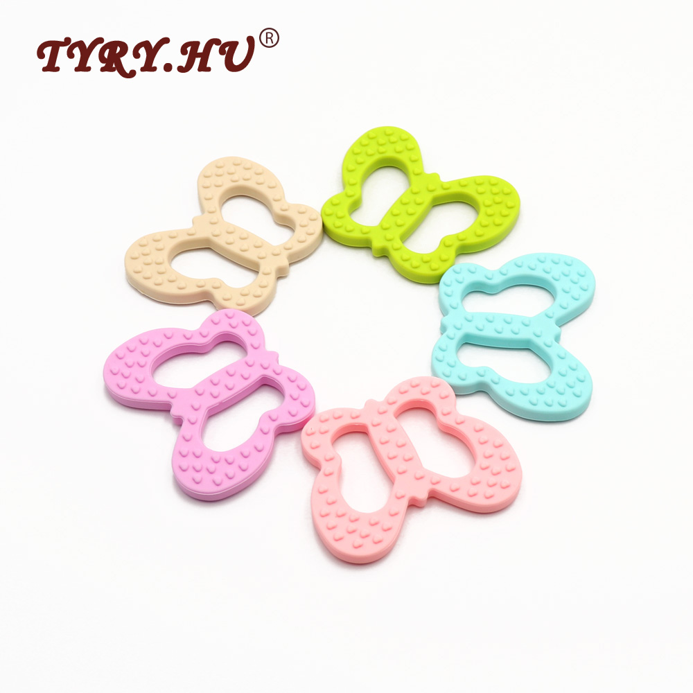 10pc Silicone Beads Butterfly Teether Chewable Pendant Charm BPA Free Nursing Necklace DIY Soother Chain Children's Favorite Toy