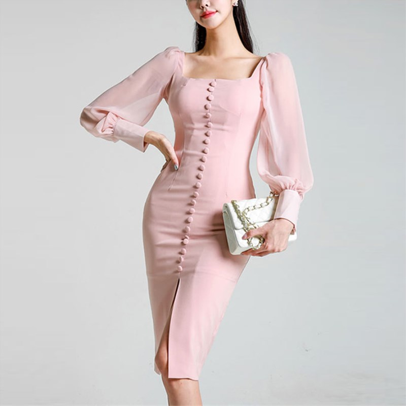 2019 Neue Elegante Party Kleid Langarm Quadrat Kragen Rosa Spitze Dünne Bleistift Kleid Bodycon Formale Kleid Herbst