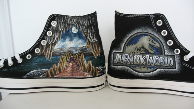custom Jurassic World Jurassic Park hand painted  canvas gift MEN  women  shoes on Aliexpress.com  5455899e93ad