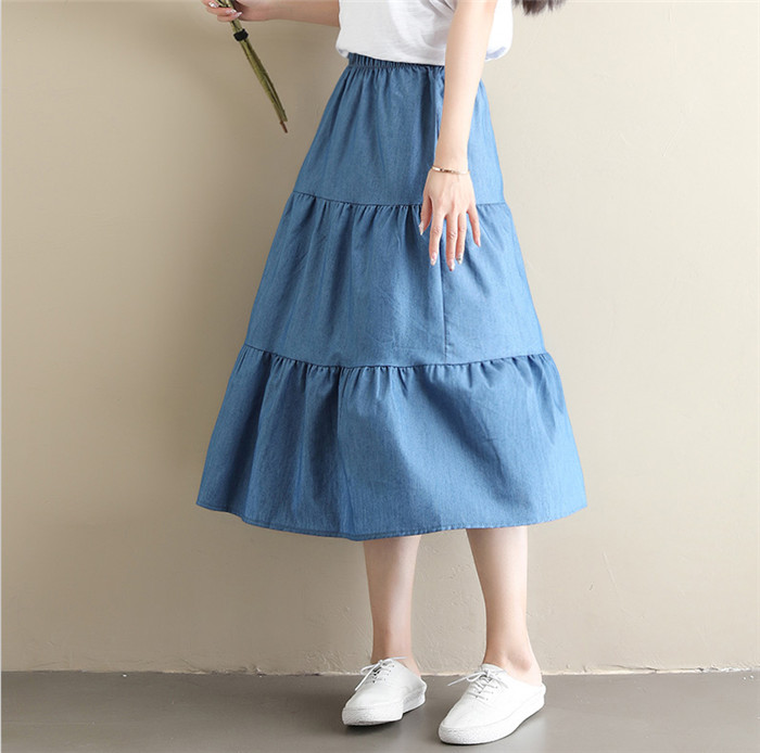 Brand 2019 Women Long Denim Skirt plus size 5xl 6xl 7xl High Waisted Ruffled pleated jeans skirts Spring long jeans skirts(China)