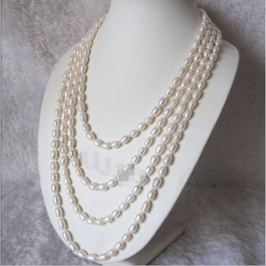 """Hot sale new Style >>>>>Long 100"""" 7-8mm White Freshwater Cultured Rice Pearl Necklace"""