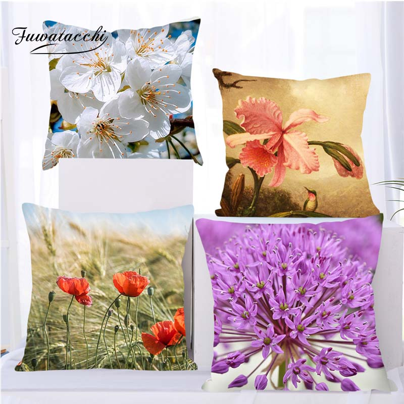 Fuwatacchi Floral Series Cushion Cover Roses Pillow Cover For Sofa Bedroom Car Decoration Flower Cherry Throw Pillowcases