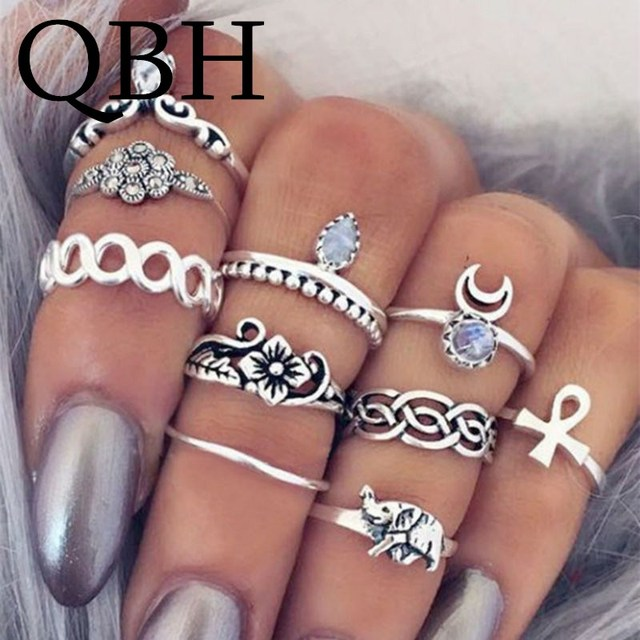 10pc/set Unique Boho Beach Carved Punk Elephant Moon Finger Midi Ring Set Party