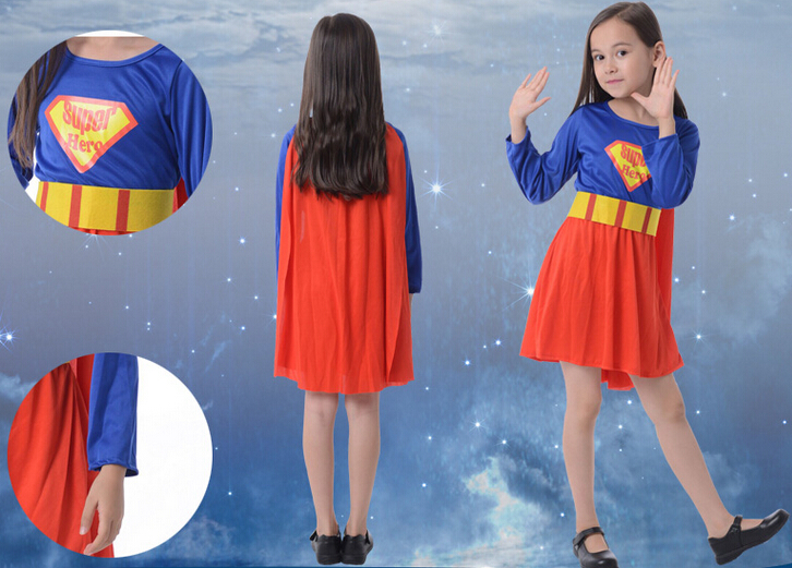 Free shipping 100-140cm girl super hero party Halloween cosplay performance clothing+cloak Kid super hero  for 3-12 years