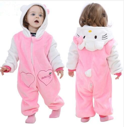 Pink Animal Baby Romper Boy Girl Hello Kitty Cartoon Jumpsuit Pajamas Warm Autumn Winter Cute Children Flannel Zipper Clothes