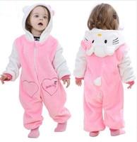 Pink Animal Baby Romper Boy Girl Hello Kitty Cartoon Jumpsuit Pajamas Warm Autumn Winter Cute Children