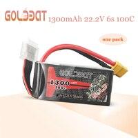 Bateria lipo de goldbat 1300mah 6s para drones fpv bateria lipo 22.2 v 100c pacote com xt60 plug para drones que competem fpv estrada rc carro