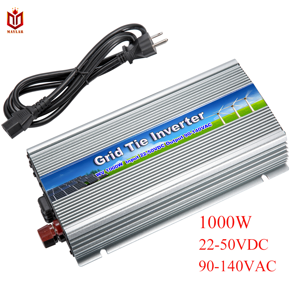 MAYLAR@ 20-50Vdc 1000W Solar Pure Sine Wave Grid Tie MPPT Inverter Output 90-140V 50hz/60hz For Alternative Energy Home SystemMAYLAR@ 20-50Vdc 1000W Solar Pure Sine Wave Grid Tie MPPT Inverter Output 90-140V 50hz/60hz For Alternative Energy Home System