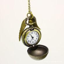 hot sale  vintage bronze color punk steampunk Movie quartz pocket real watch pendant snitch wings necklace for men/women