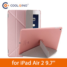 Multi-folded Tablets Case For iPad Air 2 9.7 PU Leather Protective Cover Smart Wake Sleep Tablet Case For iPad Air Case Air2 9.7 недорого