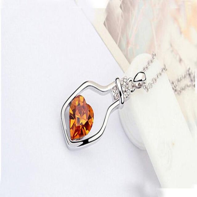 Sunstone Bottled contain hart shape stone Necklaces 4