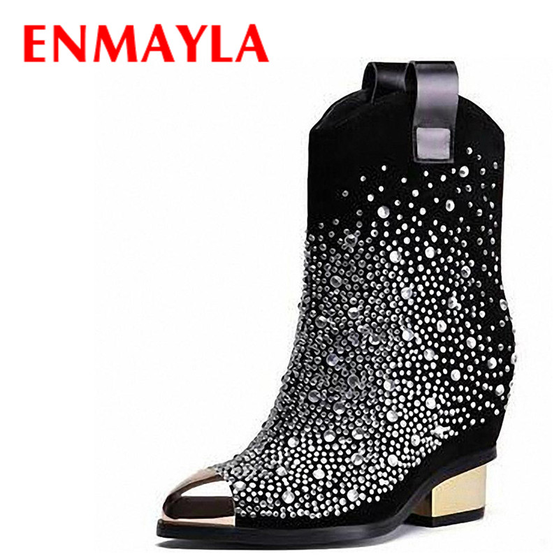 ENMAYLA Square Heels Martin Boots for Women Metal Pointed Toe Crystal Shoes Woman Winter Hideen Heels Rhinestone Boots Women enmayla autumn winter chelsea ankle boots for women faux suede square toe high heels shoes woman chunky heels boots khaki black