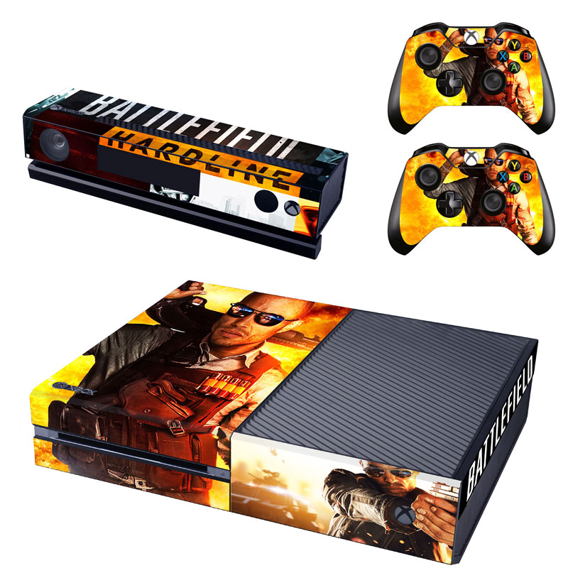 Battlefield Hardline Decal Skin Sticker for Microsoft Xbox One Kinect and Console and 2 Controllers Vinyl Game Stickers