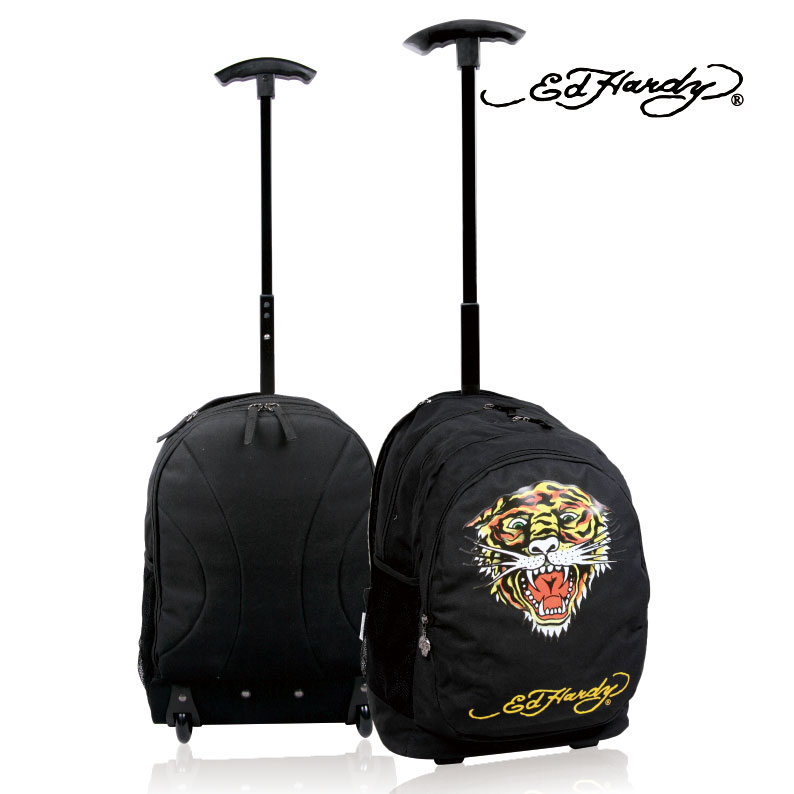 Ed hardy steller s trolley bag backpack black casual outdoor travel trolley  backpack on Aliexpress.com  7d9b595b4d698