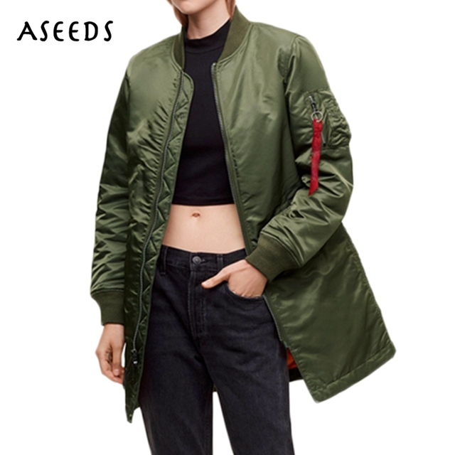 3076067c53c Winter fall girls MA1 LONG bomber jackets womens jackets and coats army  green black baseball military jacket tops plus size