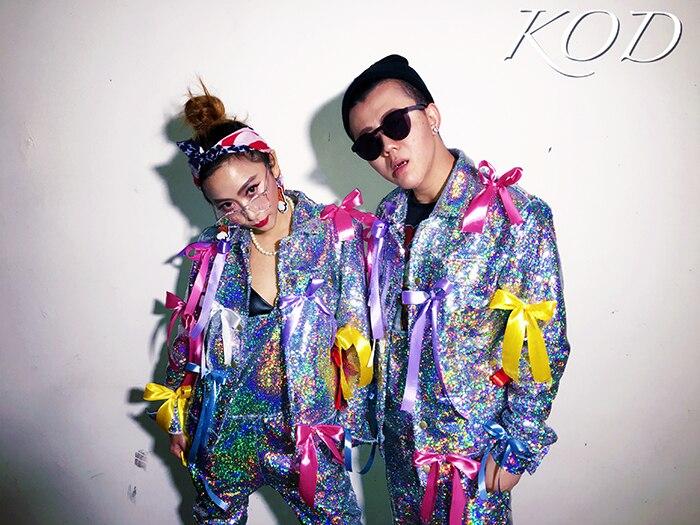 S-XXL ! Original Nightclub GD Quan Zhilong With The Men's Singer DJ Laser Sequin Ribbon Denim Overalls Singer Clothing