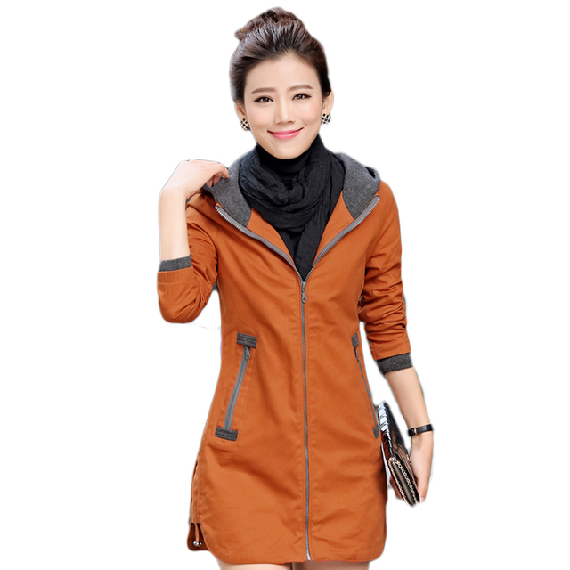 2016 Nova moda outono e inverno as mulheres trench coat blusão de médio-longo patchwork fino OL outwear com capuz plus size 5XL