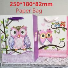 1PC/lot 3D Owl design 210g White Kraft paper bag Packaging bags with handles Christmas New year Festival Children gift bags(China)