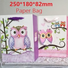 1PC/lot 3D Owl design 210g White Kraft paper bag Packaging bags with handles Christmas New year Festival Children gift bags